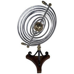 Chrome and Brass Armillary with Teak and Iron Base