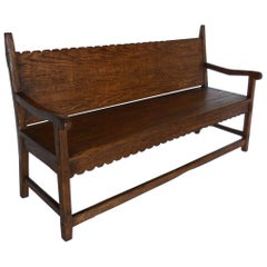 Dos Gallos Custom Oakwood Bench with Scalloped Back and Apron