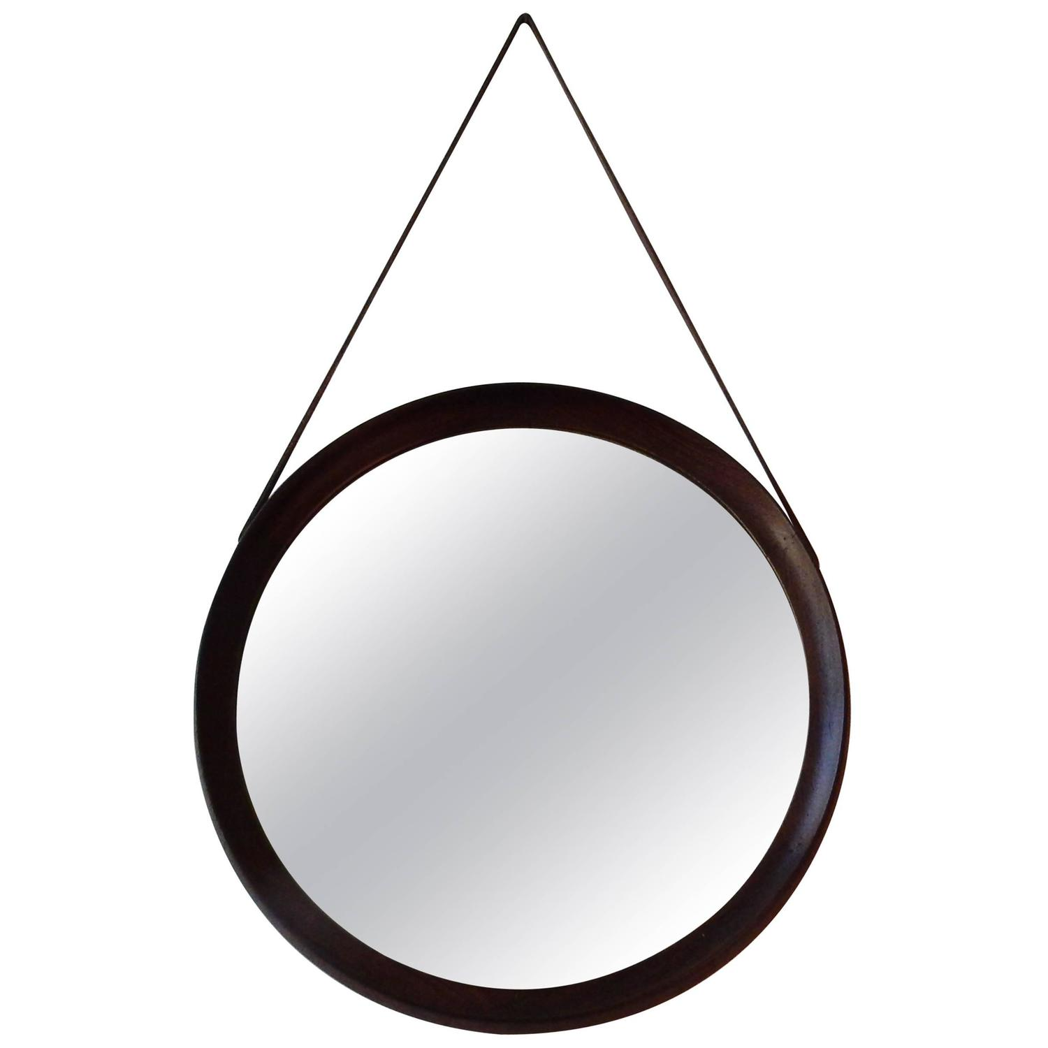 Round weng framed mirror mid century 1960s at 1stdibs for Miroir wenge
