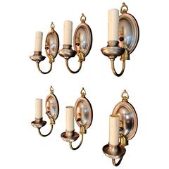Beautiful Set of Six 1920 Metal and Brass Sconces