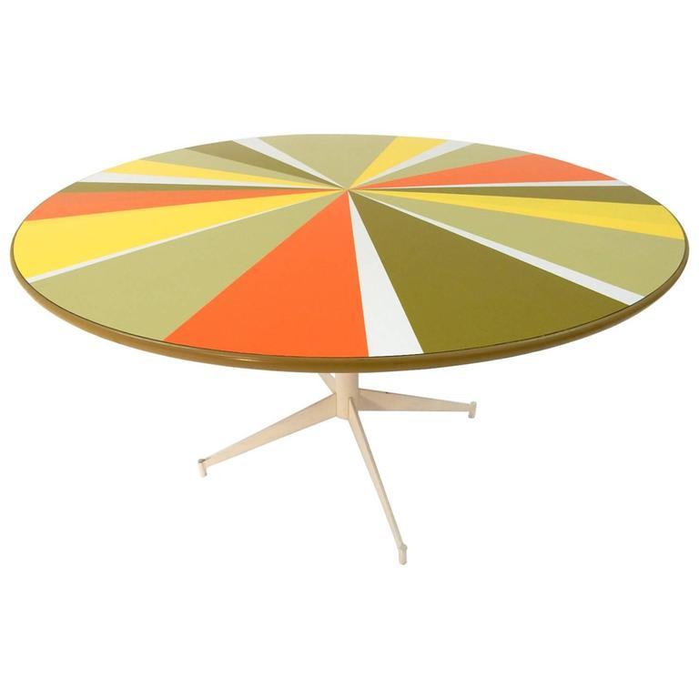 Mid-Century Modern 1960s Pop-Art Pinwheel Laminate Dining Table