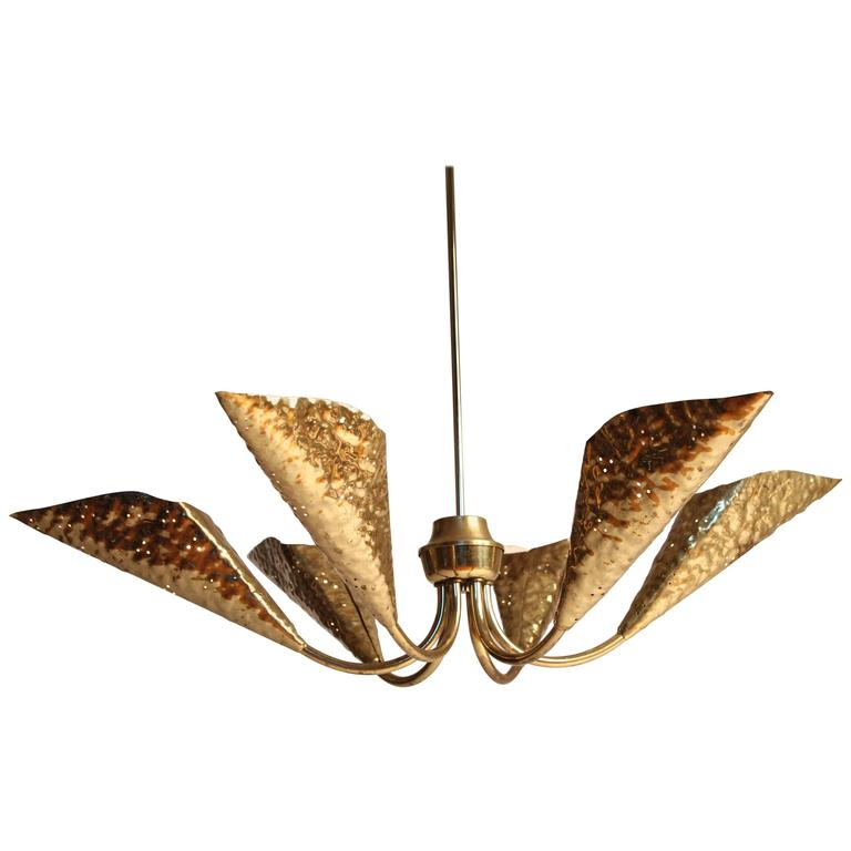 Hand-Hammered Six-Arm Brass Chandelier in the style of Arredoluce , 1950s, Italy