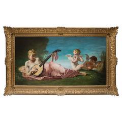 Musicians Puttis Oil on Original Panel by Lazare Meyer, 19th Century