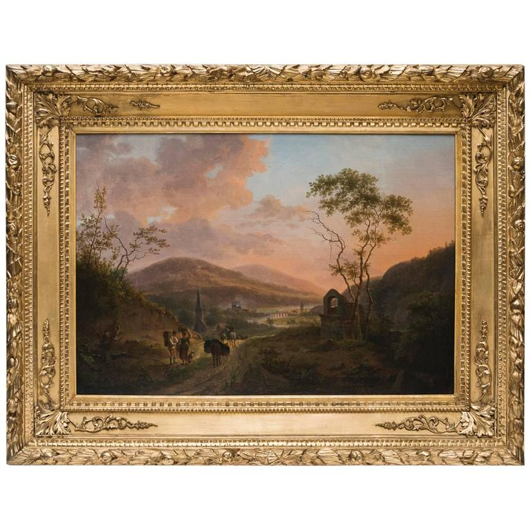 Italian Landscape By Julien Ducorron Famous Oil On Canvas