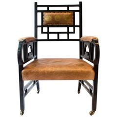 E W Godwin. Probably made by William Watt. A Rare Anglo-Japanese Armchair.