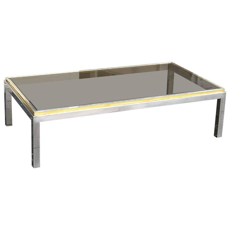 Original Signed Brass Coffee Table Flaminia by Willy Rizzo, Italy, circa 1970