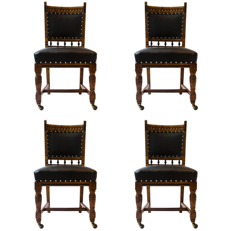 Lambs of Manchester A Set of Four Aesthetic Movement Oak & Leather Dining Chairs For Sale