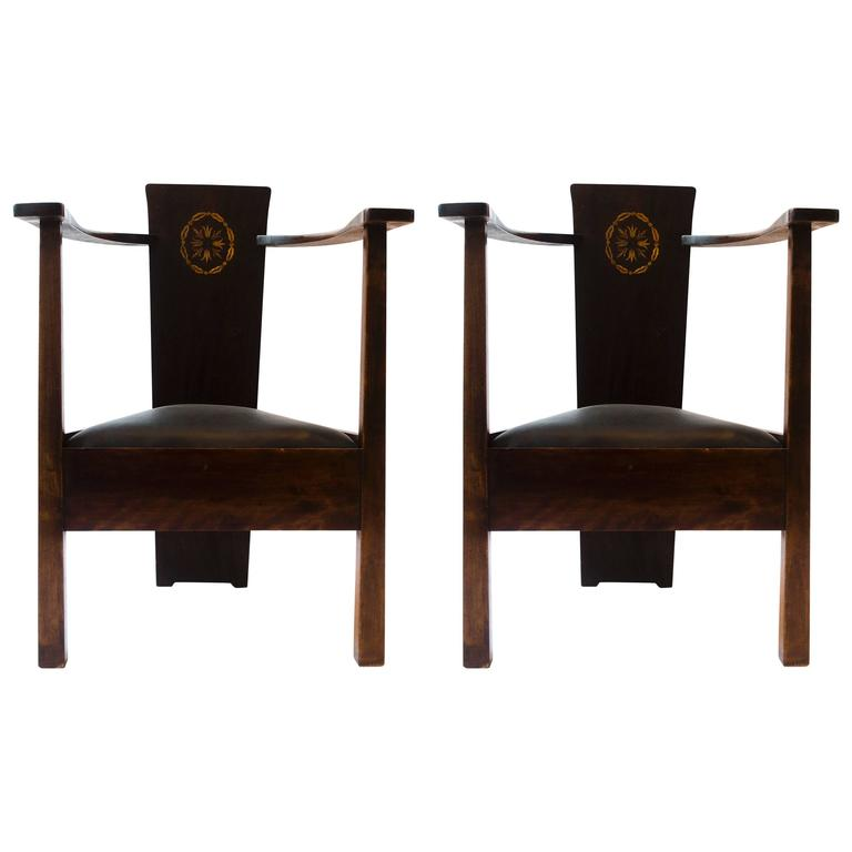 M H Baillie Scott A Pair Of Arts U0026 Crafts Armchairs With Foliate U0026 Ribbon  Inlays For