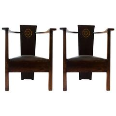 M H Baillie Scott A Pair of Arts & Crafts Armchairs With Foliate & Ribbon Inlays