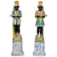 Pair of Rare Italian Early 20th Century Polychrome Glazed Terracotta Blackamoors
