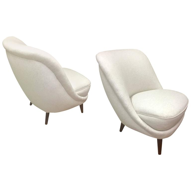 In The Style Of Gio Ponti Pair Of Elegant Slipper Chair