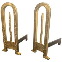 Gold Leaf Wrought Iron Spectacular Pair of Andiron