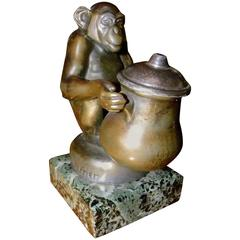 Deco Monkey Inkwell by Max Le Verrier Bou Bou
