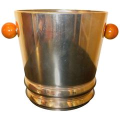 Art Deco Silver Champagne Cooler with Bakelite Handles by Quist
