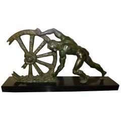 Art Deco Sculpture Man with Broken Wheel by Le Faguays