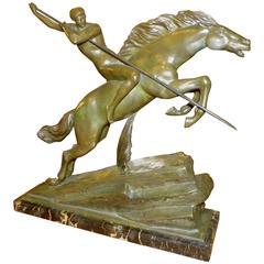 Bronze Art Deco Warrior Sculpture by Armand Lemo