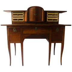 George Walton. Arts & Crafts Walnut Desk with Secret Drawers & Heart Escutcheons