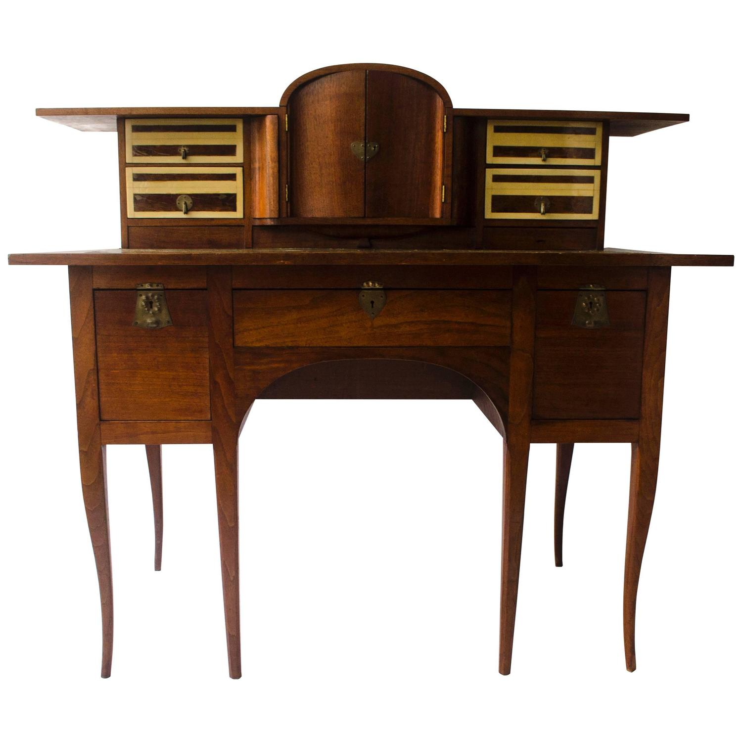 Rare and important arts and crafts desk by george walton for Crafting desks for sale