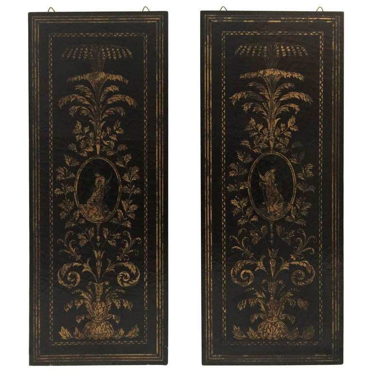 Pair of Italian Black Lacquer and Gilt Wall Screens