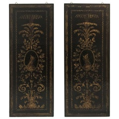 Italian 19th Century Black Lacquer and Gilt Wall Screens, a Pair