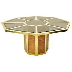 Stunning Octagonal Table by Romeo Rega, Brass and Fumè Color Beveled Glass