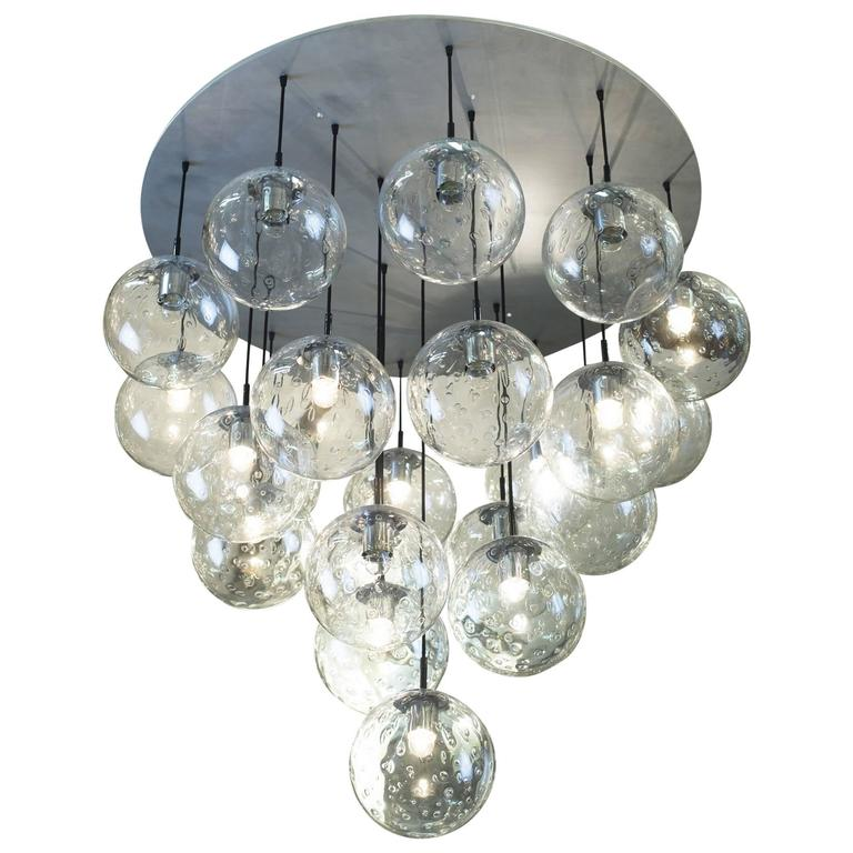 1970s large raak chandelier with 19 glass balls for sale at 1stdibs 1970s huge glass balls chandelier by raak amsterdam aloadofball Image collections