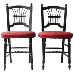 Morris & Co A Pair of Ebonised Sussex Chairs Designed by Dante Gabriel Rossetti