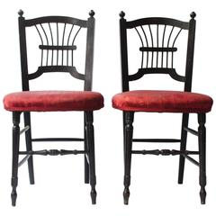 Pair of Morris and Co Ebonised Sussex Chairs Designed by Dante Gabriel Rossetti