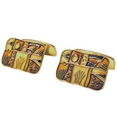David Andersen Enamel Sterling and Vermeuil `Fall' Cufflinks, Norway, circa 1959