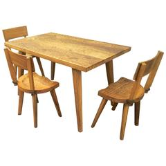 """Jean Touret for Les Ateliers Marolles """"a La Gouge"""" Rare Organic Oak Dinning Set"""