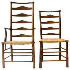 C R Ashbee Made By The Guild of Handicraft A Ladder Back Armchair and Side Chair