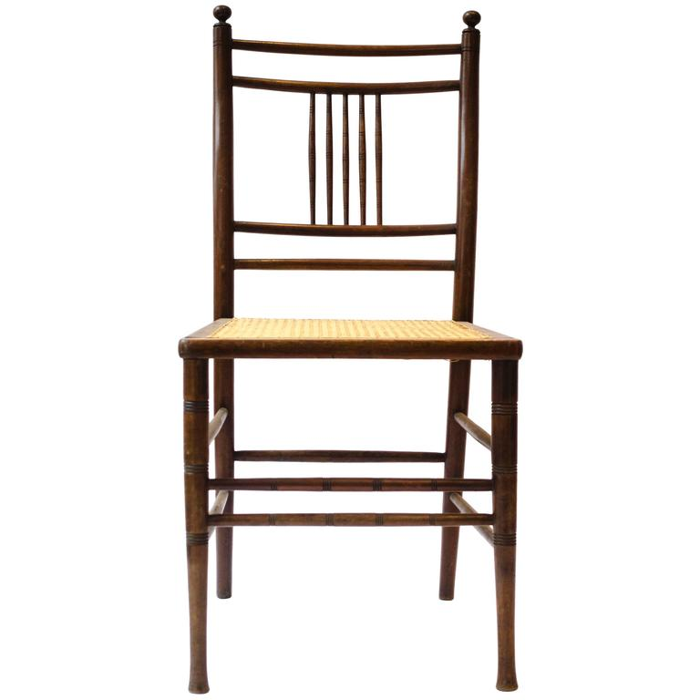 Anglo Japanese Walnut And Caned Seat Side Chair, Attributed To E W Godwin