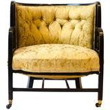 Anglo-Japanese Ebonized Walnut Lounge Chair, Attributed to E W Godwin