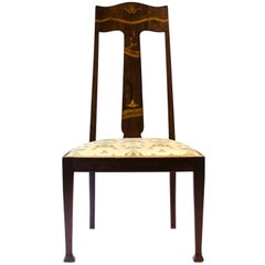 Jas Shoolbred Arts and Crafts Mahogany Rosewood Chair With stylised Floral Inlay