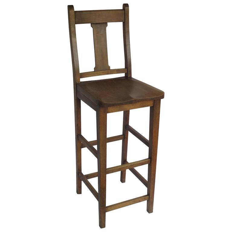 Victorian Clerk\'s High Chair or Kitchen Chair in Beach and Elm, English Ca.  1880