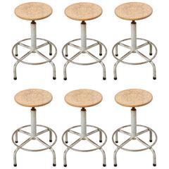 Set of Six Friso Kramer Adjustable Height Industrial Stools