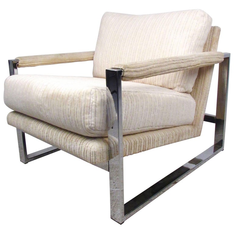 Mid-Century Modern Milo Baughman Style Chrome Lounge Chair For Sale