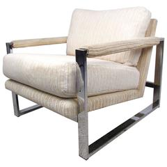 Mid-Century Modern Milo Baughman Style Chrome Lounge Chair