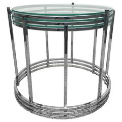 Milo Baughman Style Chrome Glass Stacking/Nesting Side Tables