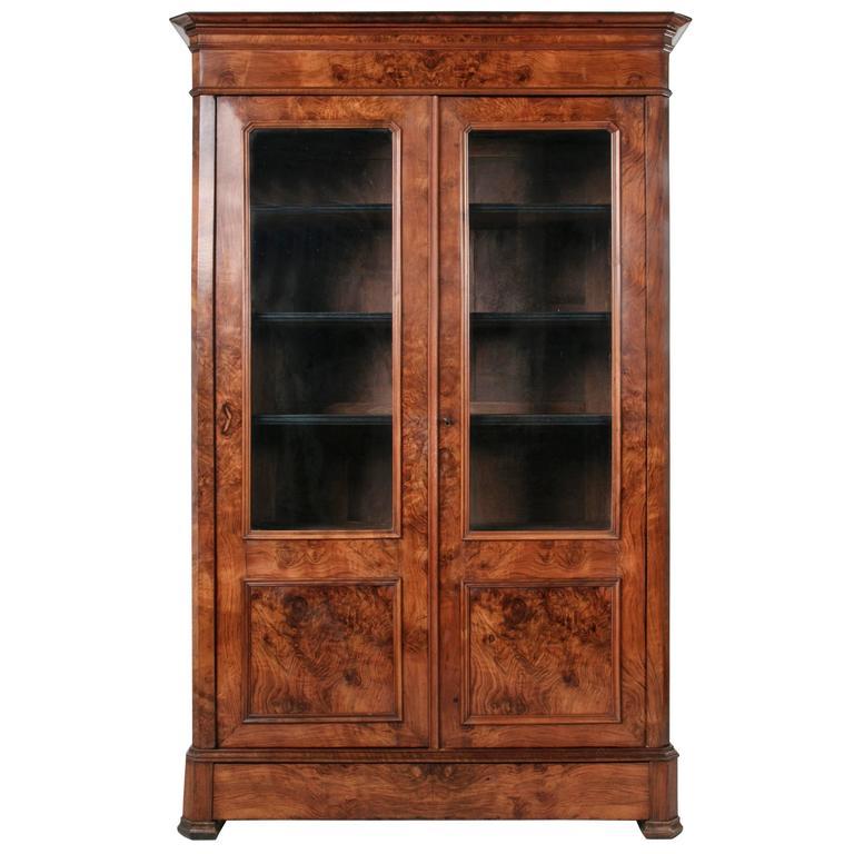 Period Louis Philippe Bookcase Bibliothèque or Vitrine of Burled Walnut