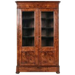 Period Louis Philippe Bookcase Bibliothèque or Vitrine of Burled Walnut
