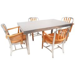 Vintage Industrial Metal Dining Set by Shaw Walker