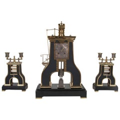 French 19th Century Clock with Matching Candelabrum