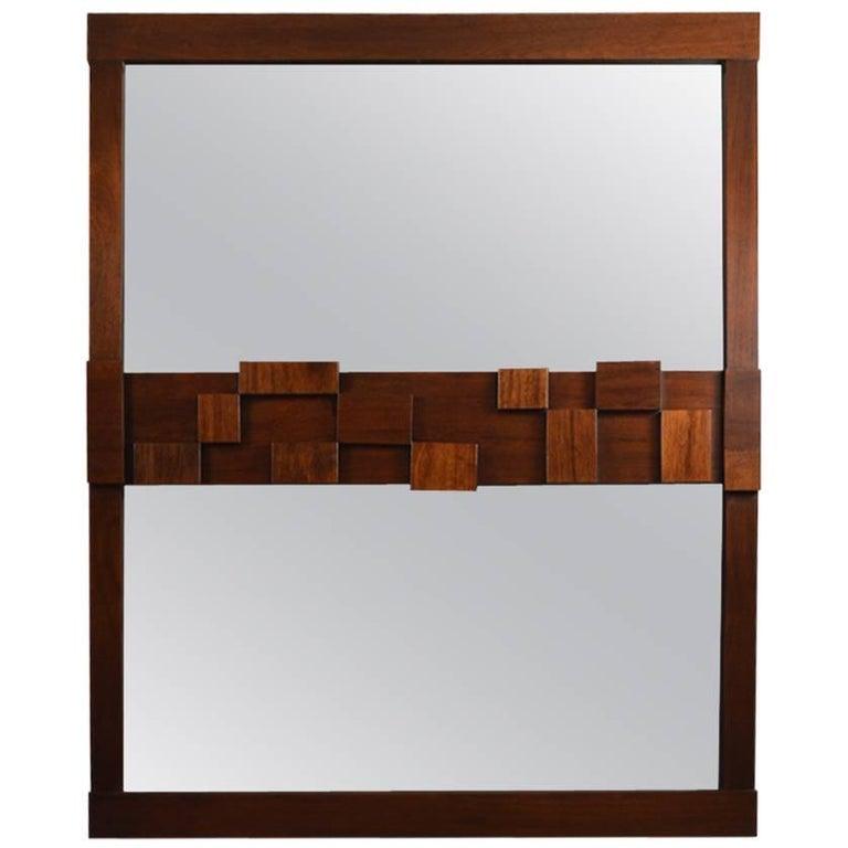 Large Lane Mosaic Pattern Brutalist Mirror For Sale