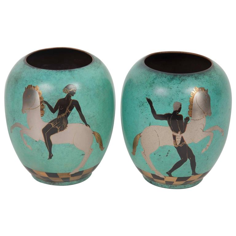 Pair of WMF Enamel on Copper Vases
