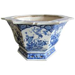 Large Chinese Blue and White Porcelain Jardinière