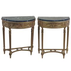 Pair of Demilune Gilt Console Tables