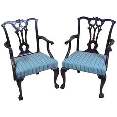 Pair of 18th Century English Chippendale Carved Mahogany Elbow Chairs