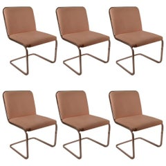 Set of Six Cantilevered Chrome Dining Chairs by Brueton