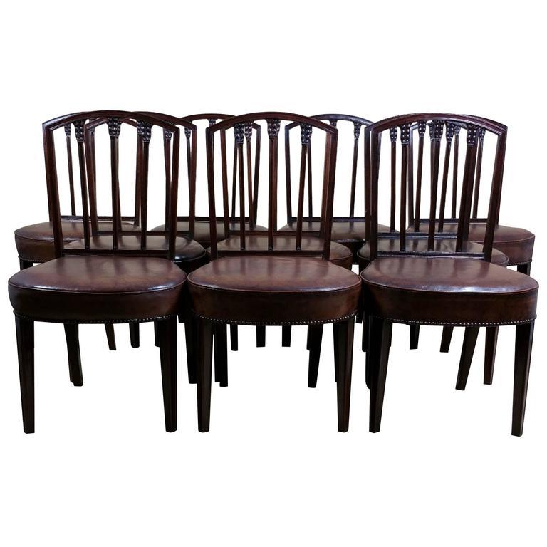 Rare Set of Ten English Mahogany 18th Century Sheraton Dining Chairs For Sale